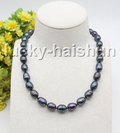 """Genuine 17"""" 13mm rice peacock Black pearls knotted necklace 925s clasp c37"""