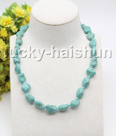 """natural Baroque 18"""" 17mm Blue turquoise knotted necklace gold plated clasp c38"""