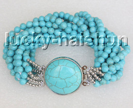 """natural 8"""" 10row 6mm round Blue turquoise beads knotted bracelet c39"""