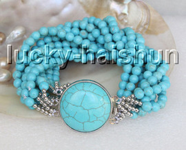 """natural 18"""" 10row 6mm round Blue turquoise beads knotted necklace c40"""