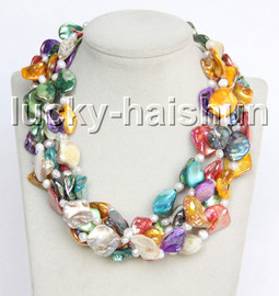 """natural 18"""" 5row Baroque white pearls Multicolor seashell necklace magnet clasp c41"""