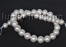 """AAA natural 17"""" 14mm round white freshwater pearls necklace 14KT solid gold clasp c48"""
