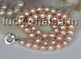 """natural 17"""" 11mm knotted pink freshwater pearls necklace 925s clasp c50"""