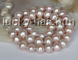 """natural 17"""" 11mm knotted purple freshwater pearls necklace 925s clasp c51"""
