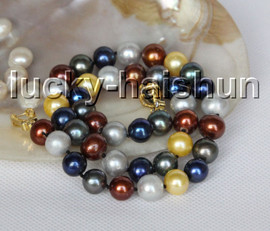 """Genuine 17"""" 11mm round knotted Multicolor freshwater pearls necklace c52"""