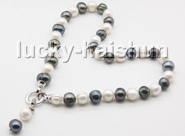"""natural 17"""" 12mm string beaded round white black freshwater pearl necklace c55"""