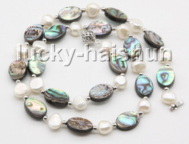 """natural 18"""" 14mm Multi-color Abalone shell white freshwater pearl necklace c56"""