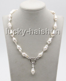"""natural NEW stylish Baroque 17"""" 24mm white Reborn keshi pearls necklace c57"""