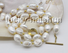 """natural 18"""" 13mm baroque white Freshwater pearls necklace c58"""