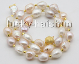 """natural 18"""" 13mm baroque white pink purple Multicolor pearls necklace c59"""