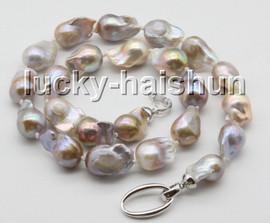 "natural 18"" 24mm string pink-purple Multicolor Reborn keshi pearls necklace c60"