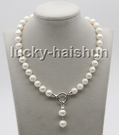 """natural 17"""" 12mm string beaded round white freshwater pearl necklace c61"""