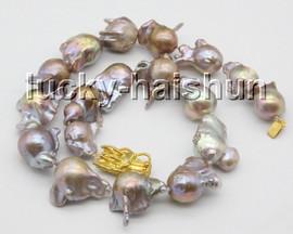 "natural HUGE 18"" 27mm natural purple Reborn keshi pearls necklace dragon clasp c62"