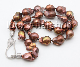 """17"""" 15mm bronze-coloured wine red Reborn keshi pearls necklace 18KGP clasp c64"""