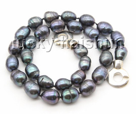 """Genuine baroque 17"""" 14mm peacock black rice oval pearls necklace 925s clasp c65"""