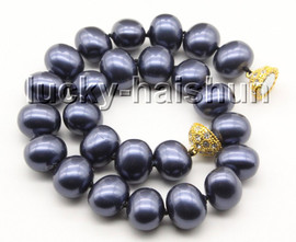 """AAAA 17.5"""" 16*19mm navy blue south sea shell pearls necklace magnet clasp c70"""