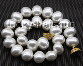"""AAAA 17.5"""" 16*19mm white south sea shell pearls necklace magnet clasp c71"""
