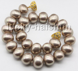 """AAAA 17.5"""" 16*19mm coffee khaki south sea shell pearls necklace magnet clasp c72"""