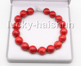 """AAA Huge natural 19"""" 25mm red round coral bead necklace Platinum Plated clasp c73"""