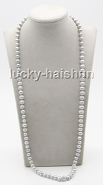 """Genuine long 32"""" 9mm gray round freshwater pearls knotted necklace magnet clasp c74"""