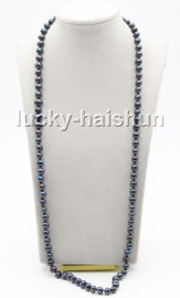 """Genuine long 32"""" 9mm black round freshwater pearls knotted necklace magnet clasp c75"""