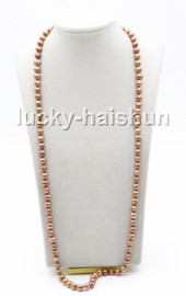 """Genuine long 32"""" 9mm coffee round freshwater pearls knotted necklace magnet clasp c76"""