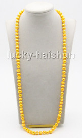 """long 32"""" 9mm round yellow freshwater pearls knotted necklace magnet clasp c78"""