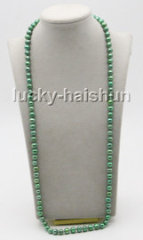 """long 32"""" 9mm round green freshwater pearls knotted necklace magnet clasp c79"""