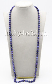 """long 32"""" 9mm round navy blue freshwater pearls knotted necklace magnet clasp c80"""