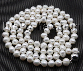 """long 32"""" 9mm round white freshwater pearls knotted necklace magnet clasp c81"""