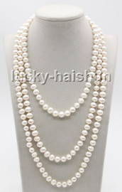"""long natural 64"""" 9mm round white freshwater pearls beads knotted necklace c83"""