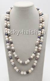 """long 46"""" 10mm round white pink black Multicolor freshwater pearls necklace c85"""