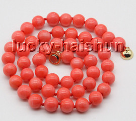 """natural 18"""" 8mm round pink coral beads knotted necklace magnet clasp c86"""