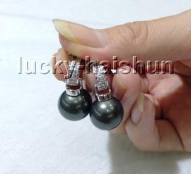 AAA Dangle 12mm round Tahitian-black south sea shell pearls Earrings 925sc post c87-1