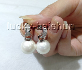 AAA Dangle 12mm round Cream white south sea shell pearls Earrings 925sc post c87-2