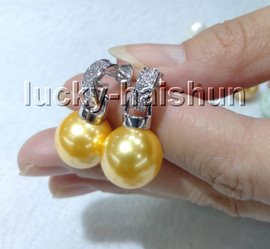 AAA Dangle 12mm round golden yellow south sea shell pearls Earrings 925sc post c87-3