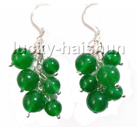 natural Dangle baroque grape round healthy green jade beads earrings 925 silver hook c89-1