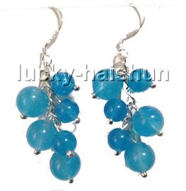 Dangle baroque grape round healthy sky-blue jade beads earrings 925 silver hook c89-2