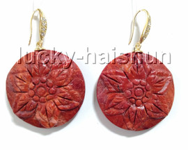AAA Dangle 30mm Large Coin carved flower red sponge coral Earrings filled gold hook c95