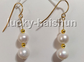AAA natural Dangle 8mm round white freshwater pearls beads Earrings 14K gold hook c96