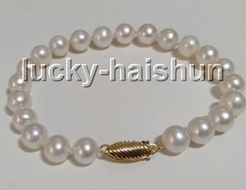 """AAA natural 8"""" 9mm round white freshwater pearls beads bracelet 14K gold clasp c97"""
