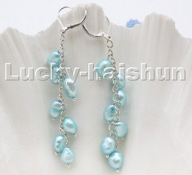 AAA sky-blue baroque potato freshwater pearls dangle earrings 18KGP hoop c99
