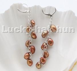 AAA coffee baroque potato freshwater pearls dangle earrings 18KGP hoop c100