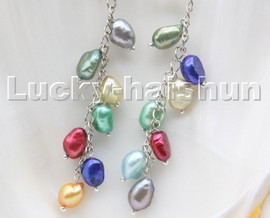 AAA baroque potato Assorted pearls dangle earrings 18KGP hoop c101