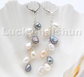 AAA white pink purple black baroque potato pearls dangle earrings 18KGP hoop c102