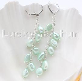 AAA light green baroque potato freshwater pearls dangle earrings 18KGP hoop c103