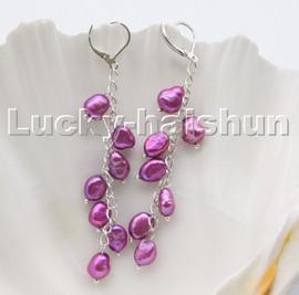 AAA purple baroque potato freshwater pearls dangle earrings 18KGP hoop c104