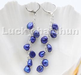 AAA navy blue baroque potato freshwater pearls dangle earrings 18KGP hoop c105