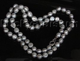 """Long 30"""" 13mm Baroque gray freshwater pearls Freeform potato necklace 18KGP clasp c109"""