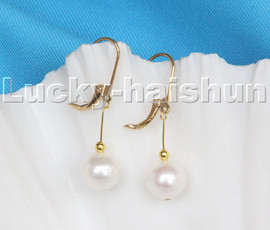 natural 10mm dangle round white freshwater pearls beads earrings 14KT hook c110